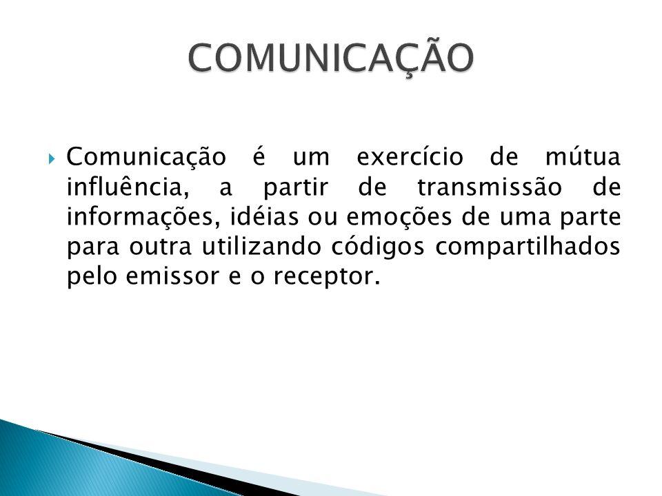 Comunicação é um exercício de mútua influência, a partir de transmissão de informações, idéias ou emoções de uma parte para outra utilizando códigos c