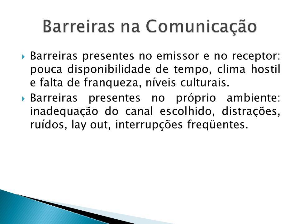 Barreiras presentes no emissor e no receptor: pouca disponibilidade de tempo, clima hostil e falta de franqueza, níveis culturais. Barreiras presentes