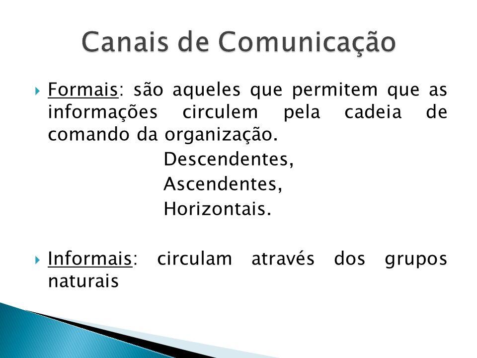 Formais: são aqueles que permitem que as informações circulem pela cadeia de comando da organização. Descendentes, Ascendentes, Horizontais. Informais