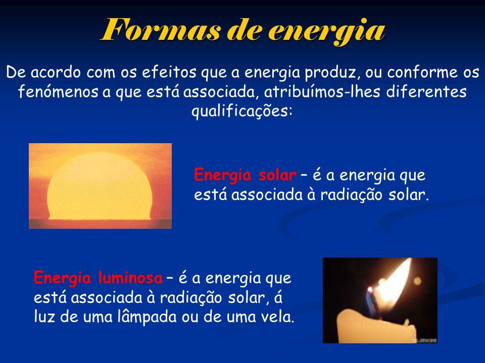 Formas de energia De acordo com os efeitos que a energia produz, ou conforme os fenómenos a que está associada, atribuímos-lhes diferentes qualificaçõ