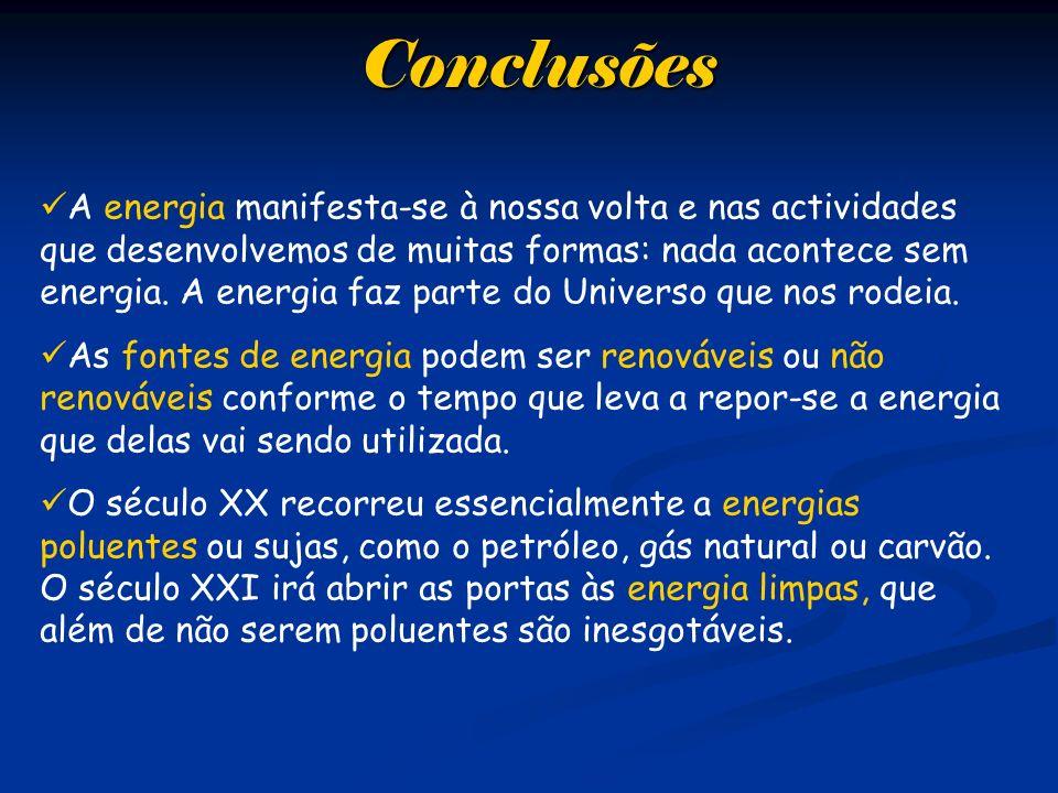 Conclusões A energia manifesta-se à nossa volta e nas actividades que desenvolvemos de muitas formas: nada acontece sem energia. A energia faz parte d