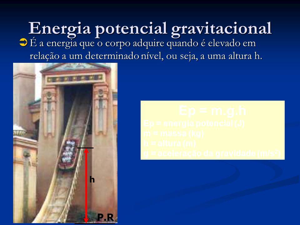 Energia potencial gravitacional É a energia que o corpo adquire quando é elevado em relação a um determinado nível, ou seja, a uma altura h. É a energ