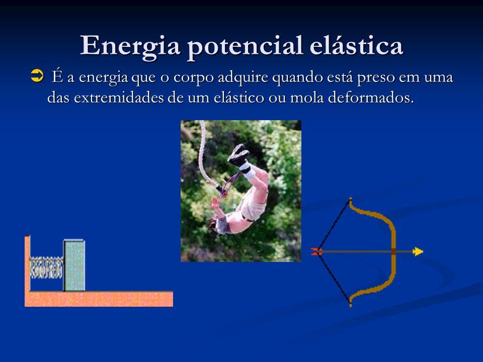 Energia potencial elástica É a energia que o corpo adquire quando está preso em uma das extremidades de um elástico ou mola deformados. É a energia qu