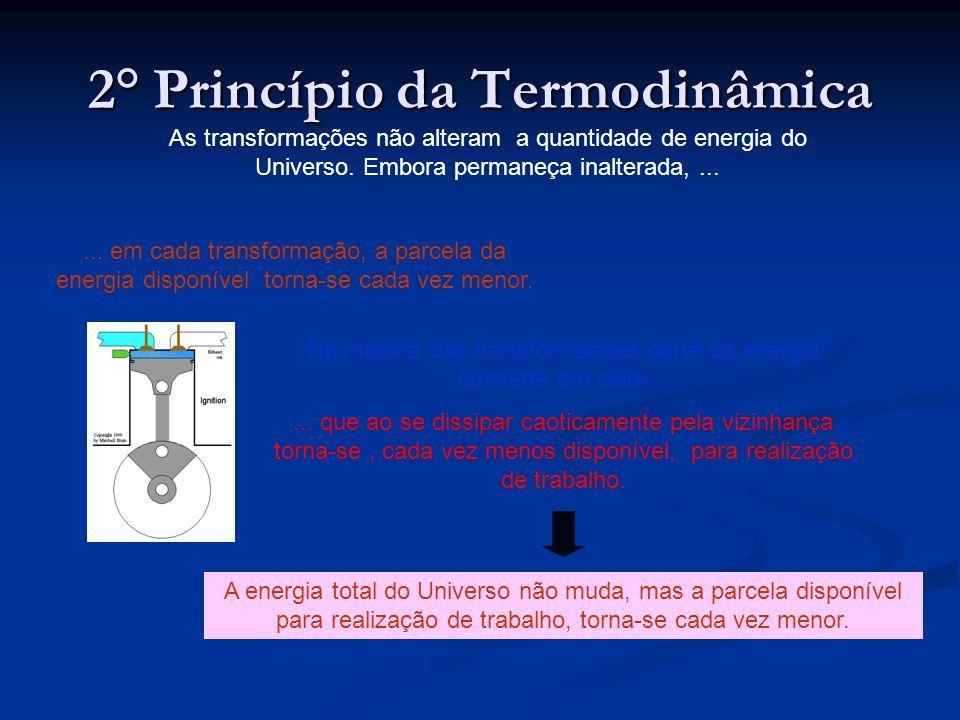 2° Princípio da Termodinâmica As transformações não alteram a quantidade de energia do Universo. Embora permaneça inalterada,...... em cada transforma