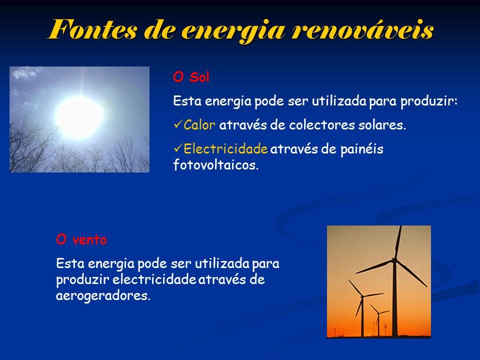 Fontes de energia renováveis O Sol Esta energia pode ser utilizada para produzir: Calor através de colectores solares. Electricidade através de painéi