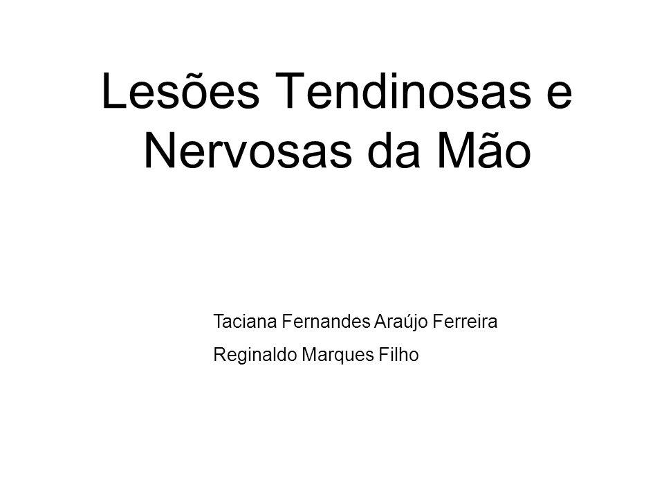 Lesões Tendinosas e Nervosas da Mão Taciana Fernandes Araújo Ferreira Reginaldo Marques Filho