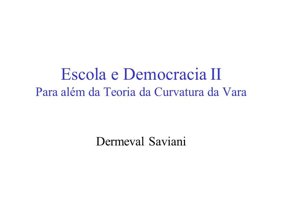 Escola e Democracia II Para além da Teoria da Curvatura da Vara Dermeval Saviani