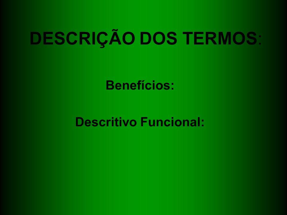 DESCRIÇÃO DOS TERMOS: Benefícios: Descritivo Funcional: