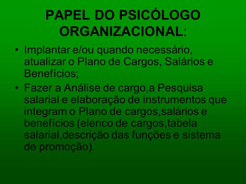 PAPEL DO PSICÓLOGO ORGANIZACIONAL: Implantar e/ou quando necessário, atualizar o Plano de Cargos, Salários e Benefícios; Fazer a Análise de cargo,a Pe