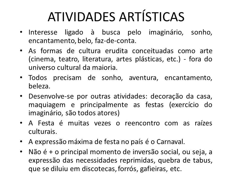 ATIVIDADES ARTÍSTICAS Interesse ligado à busca pelo imaginário, sonho, encantamento, belo, faz-de-conta. As formas de cultura erudita conceituadas com
