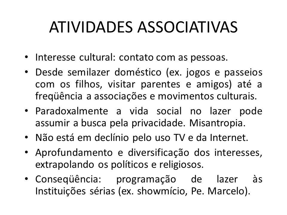 ATIVIDADES ASSOCIATIVAS Interesse cultural: contato com as pessoas. Desde semilazer doméstico (ex. jogos e passeios com os filhos, visitar parentes e
