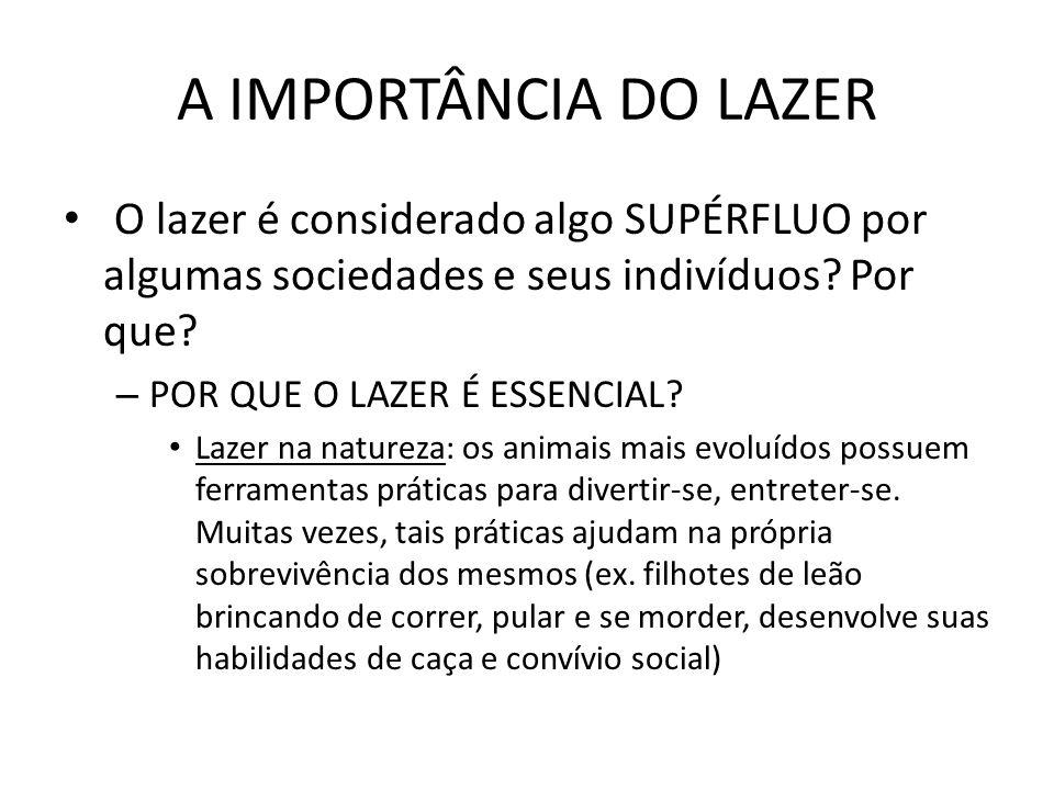 A IMPORTÂNCIA DO LAZER O lazer é considerado algo SUPÉRFLUO por algumas sociedades e seus indivíduos? Por que? – POR QUE O LAZER É ESSENCIAL? Lazer na