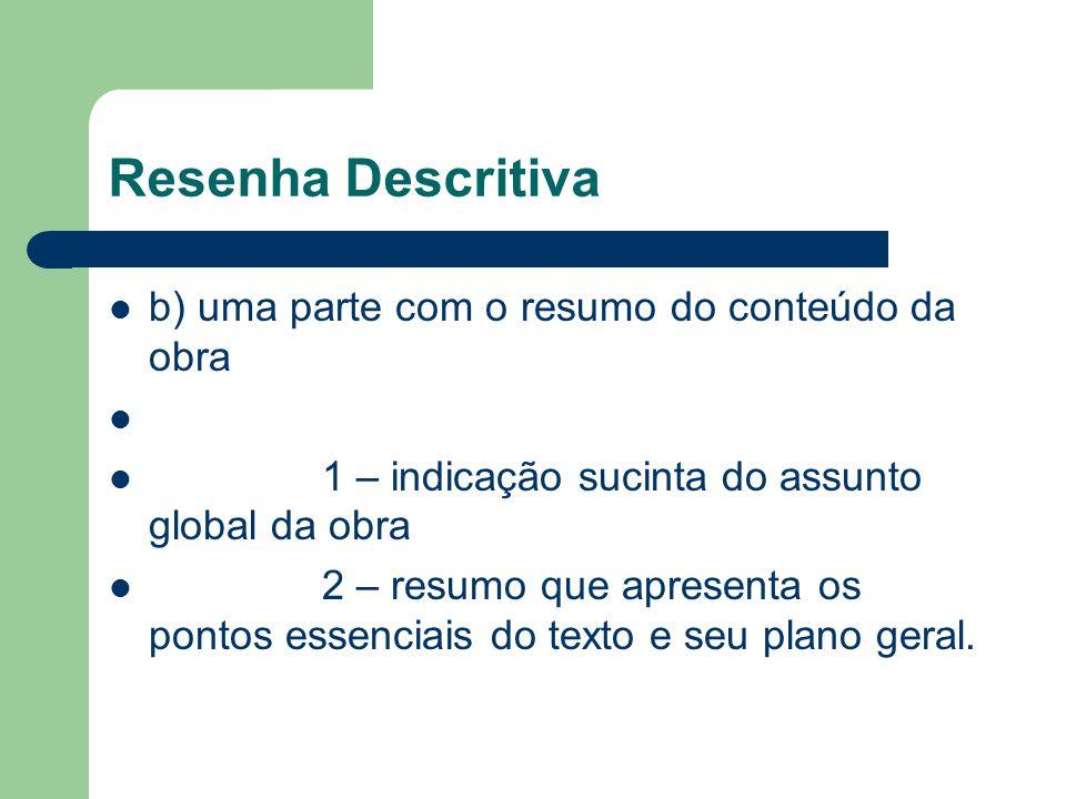Resenha Descritiva b) uma parte com o resumo do conteúdo da obra 1 – indicação sucinta do assunto global da obra 2 – resumo que apresenta os pontos es