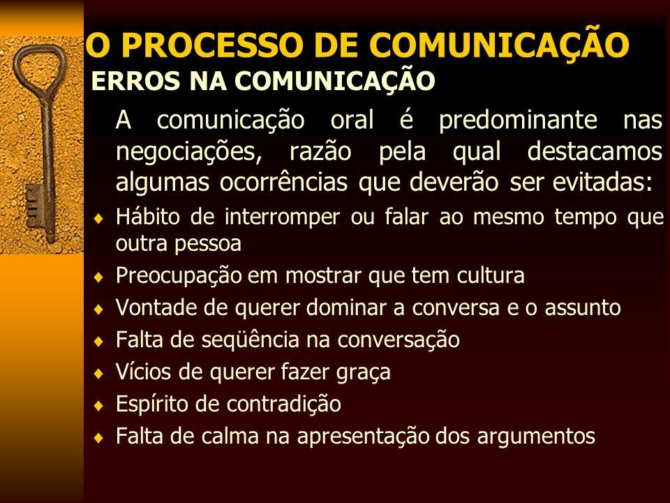 O PROCESSO DE COMUNICAÇÃO ERROS NA COMUNICAÇÃO A comunicação oral é predominante nas negociações, razão pela qual destacamos algumas ocorrências que d