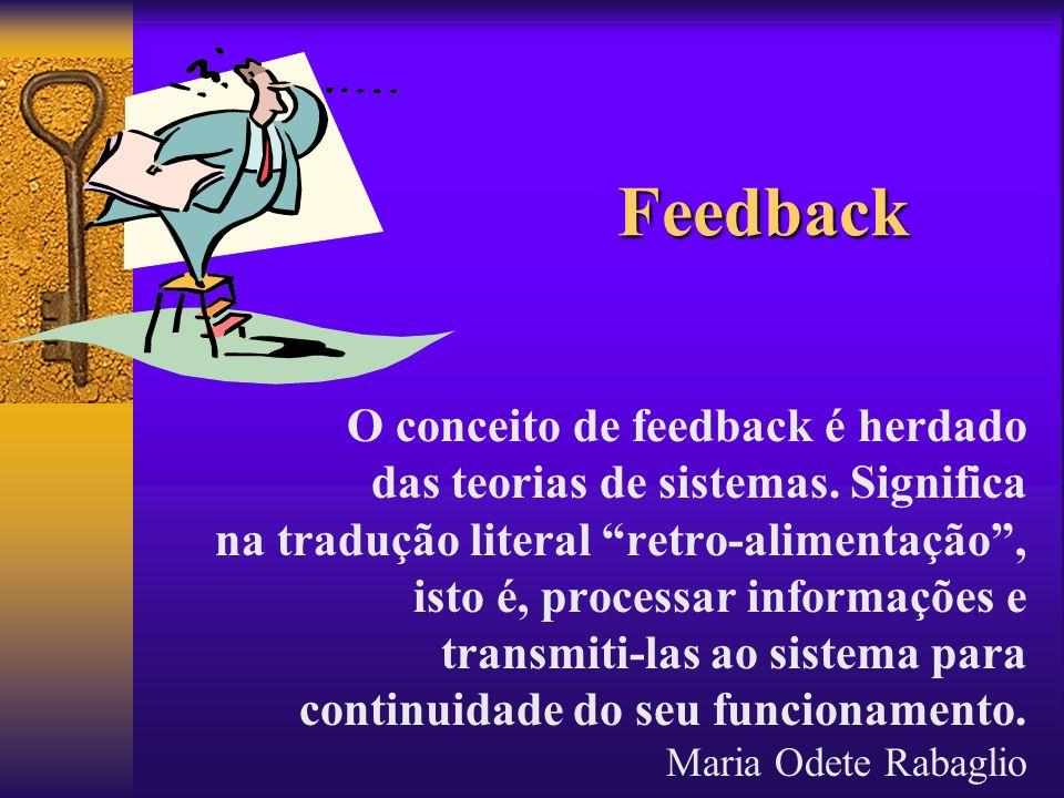 Feedback O conceito de feedback é herdado das teorias de sistemas. Significa na tradução literal retro-alimentação, isto é, processar informações e tr
