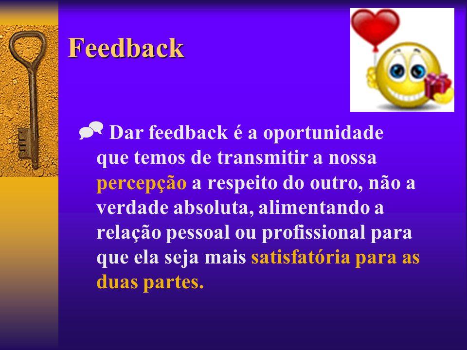 Feedback Dar feedback é a oportunidade que temos de transmitir a nossa percepção a respeito do outro, não a verdade absoluta, alimentando a relação pe
