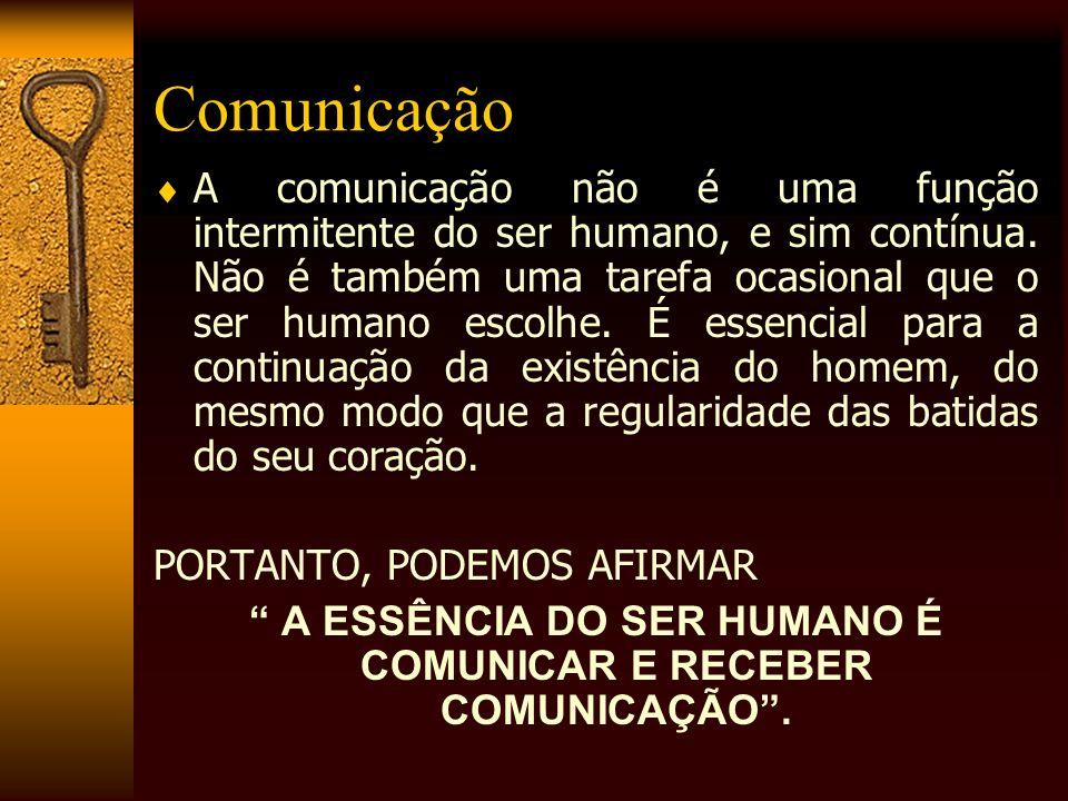 Comunicação A comunicação não é uma função intermitente do ser humano, e sim contínua. Não é também uma tarefa ocasional que o ser humano escolhe. É e