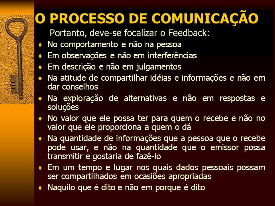 O PROCESSO DE COMUNICAÇÃO Portanto, deve-se focalizar o Feedback: No comportamento e não na pessoa Em observações e não em interferências Em descrição