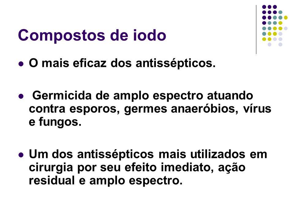 Compostos de iodo O mais eficaz dos antissépticos. Germicida de amplo espectro atuando contra esporos, germes anaeróbios, vírus e fungos. Um dos antis