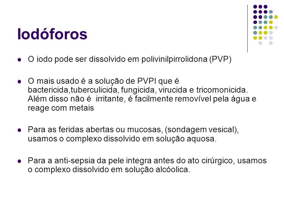 Iodóforos O iodo pode ser dissolvido em polivinilpirrolidona (PVP) O mais usado é a solução de PVPI que é bactericida,tuberculicida, fungicida, viruci