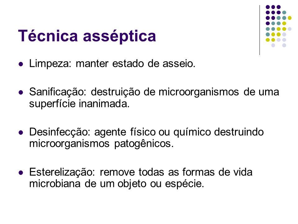 Técnica asséptica Limpeza: manter estado de asseio. Sanificação: destruição de microorganismos de uma superfície inanimada. Desinfecção: agente físico