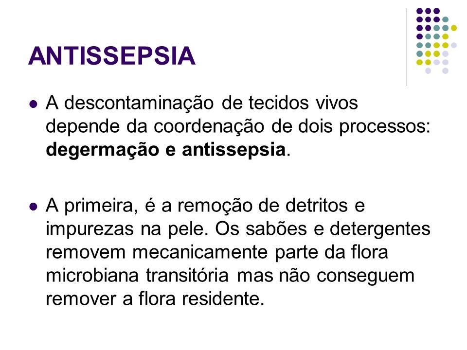 ANTISSEPSIA A descontaminação de tecidos vivos depende da coordenação de dois processos: degermação e antissepsia. A primeira, é a remoção de detritos
