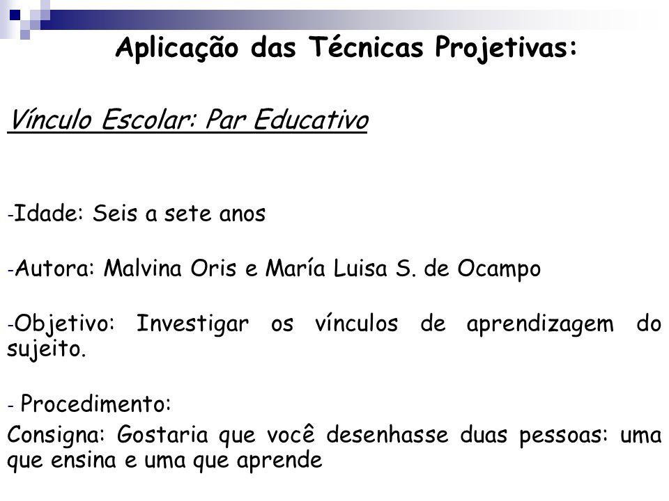 Aplicação das Técnicas Projetivas: Vínculo Escolar: Par Educativo - Idade: Seis a sete anos - Autora: Malvina Oris e María Luisa S. de Ocampo - Objeti