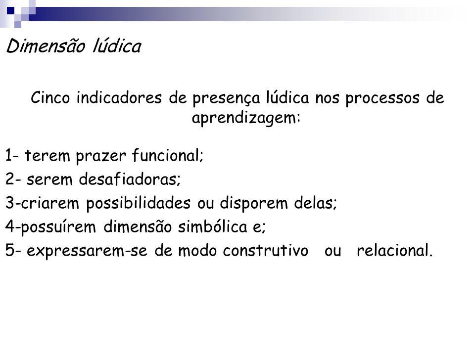 Dimensão lúdica Cinco indicadores de presença lúdica nos processos de aprendizagem: 1- terem prazer funcional; 2- serem desafiadoras; 3-criarem possib
