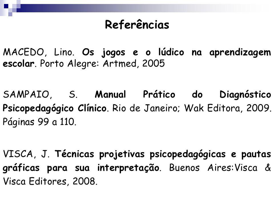 Referências MACEDO, Lino. Os jogos e o lúdico na aprendizagem escolar. Porto Alegre: Artmed, 2005 SAMPAIO, S. Manual Prático do Diagnóstico Psicopedag