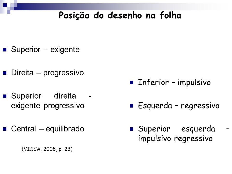 Posição do desenho na folha Superior – exigente Direita – progressivo Superior direita - exigente progressivo Central – equilibrado (VISCA, 2008, p. 2