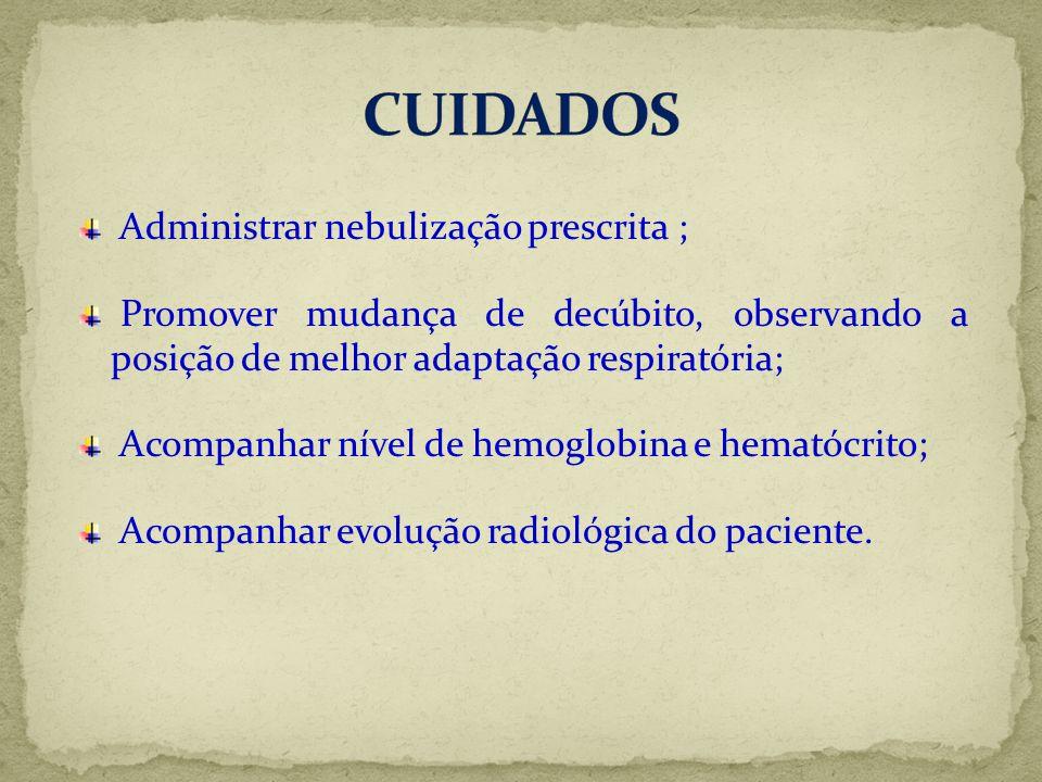 Administrar nebulização prescrita ; Promover mudança de decúbito, observando a posição de melhor adaptação respiratória; Acompanhar nível de hemoglobi