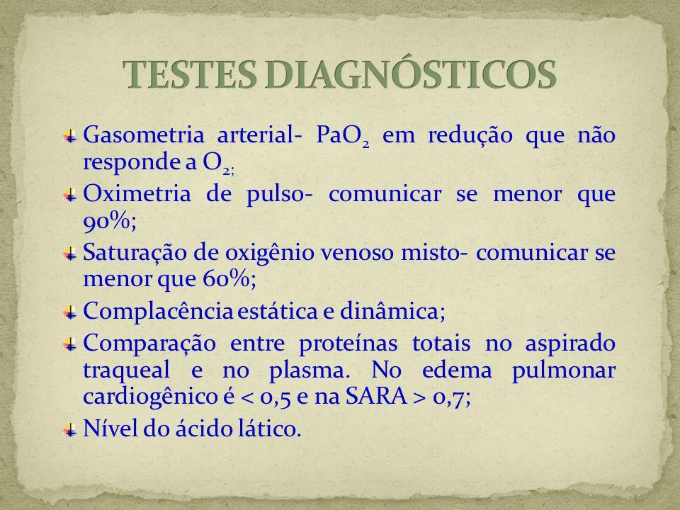 Gasometria arterial- PaO 2 em redução que não responde a O 2; Oximetria de pulso- comunicar se menor que 90%; Saturação de oxigênio venoso misto- comu