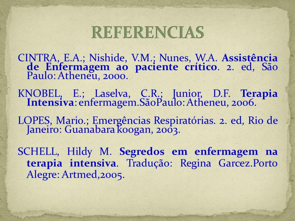 CINTRA, E.A.; Nishide, V.M.; Nunes, W.A. Assistência de Enfermagem ao paciente crítico. 2. ed, São Paulo: Atheneu, 2000. KNOBEL, E.; Laselva, C.R.; Ju