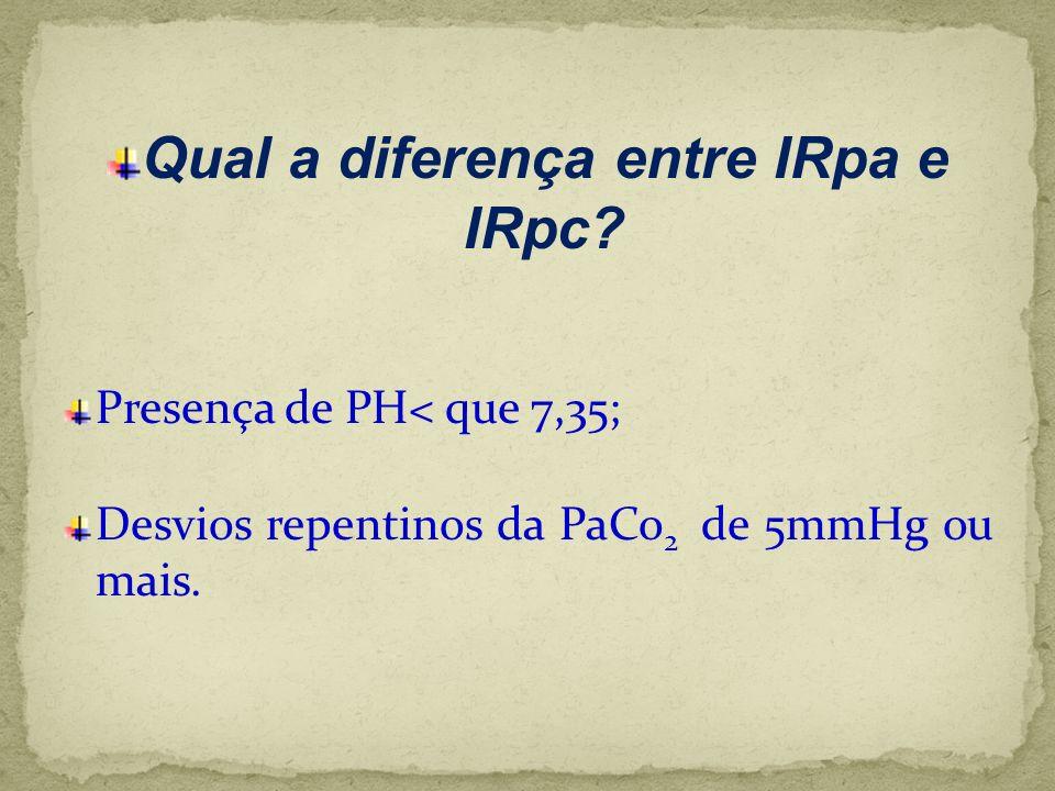 Qual a diferença entre IRpa e IRpc? Presença de PH< que 7,35; Desvios repentinos da PaCo 2 de 5mmHg ou mais.
