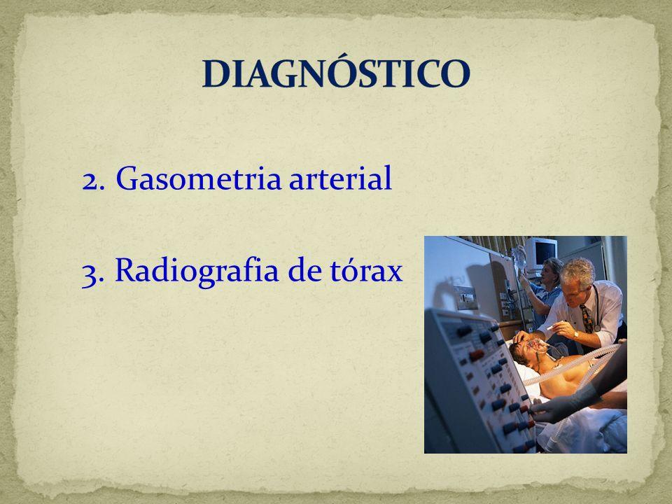 2. Gasometria arterial 3. Radiografia de tórax