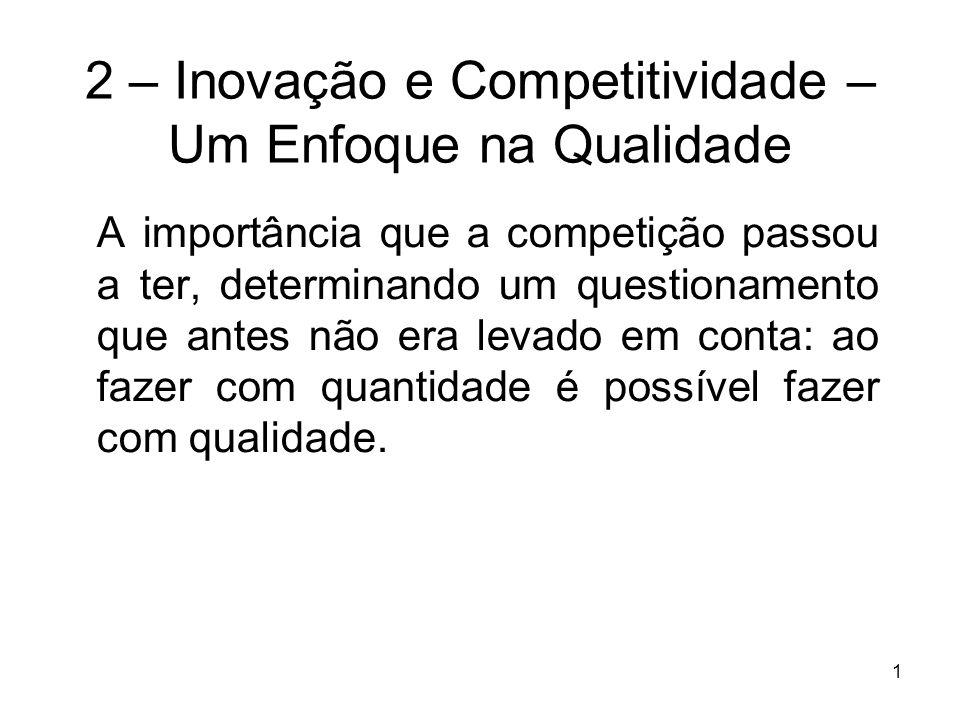 1 2 – Inovação e Competitividade – Um Enfoque na Qualidade A importância que a competição passou a ter, determinando um questionamento que antes não e
