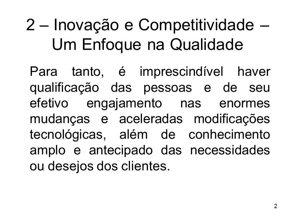 2 2 – Inovação e Competitividade – Um Enfoque na Qualidade Para tanto, é imprescindível haver qualificação das pessoas e de seu efetivo engajamento na