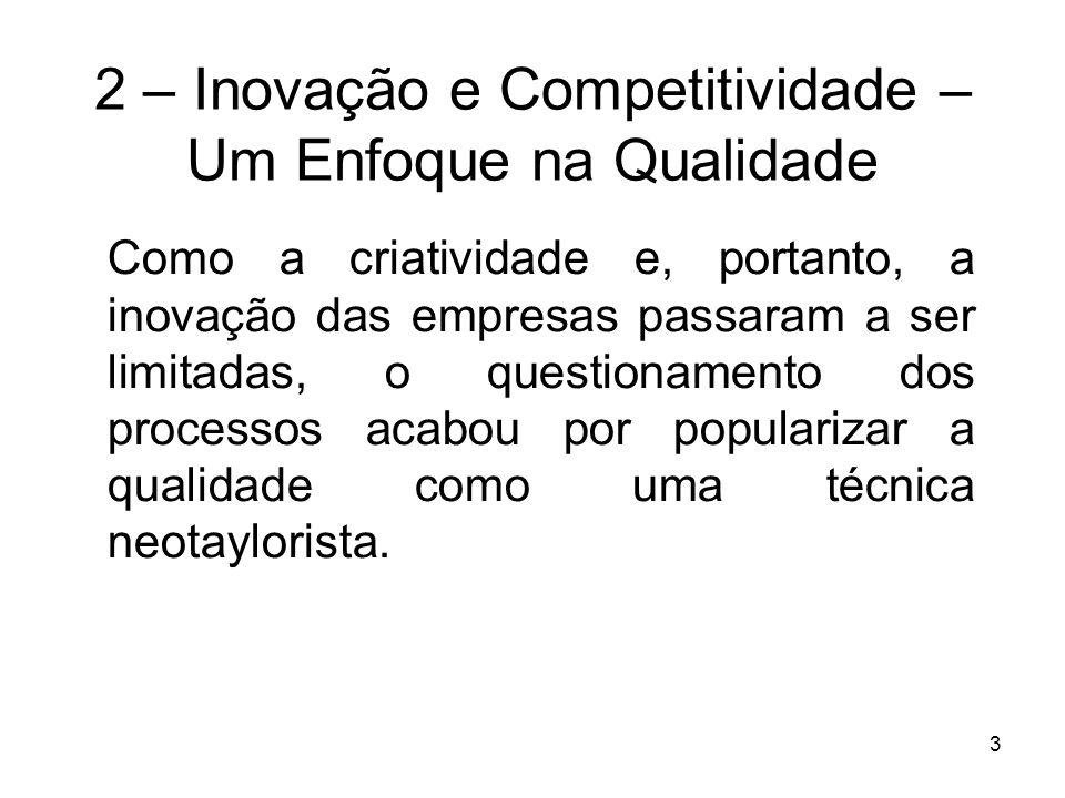 3 2 – Inovação e Competitividade – Um Enfoque na Qualidade Como a criatividade e, portanto, a inovação das empresas passaram a ser limitadas, o questi