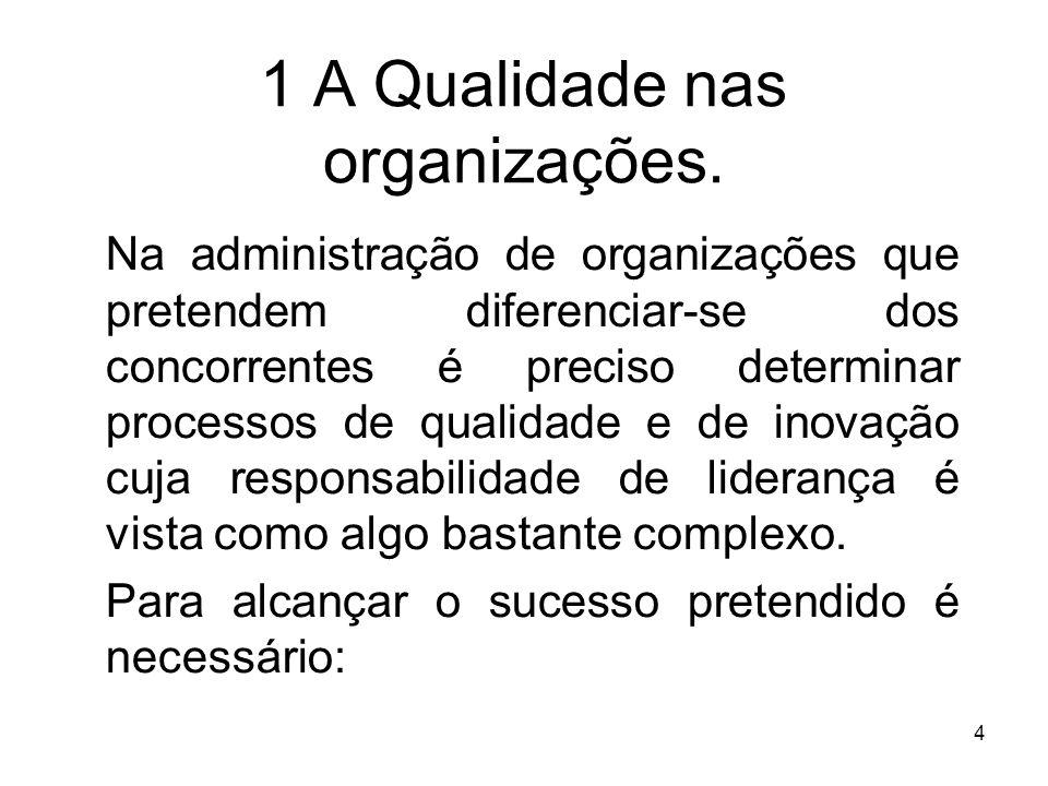 4 1 A Qualidade nas organizações. Na administração de organizações que pretendem diferenciar-se dos concorrentes é preciso determinar processos de qua