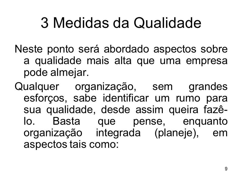 9 3 Medidas da Qualidade Neste ponto será abordado aspectos sobre a qualidade mais alta que uma empresa pode almejar. Qualquer organização, sem grande