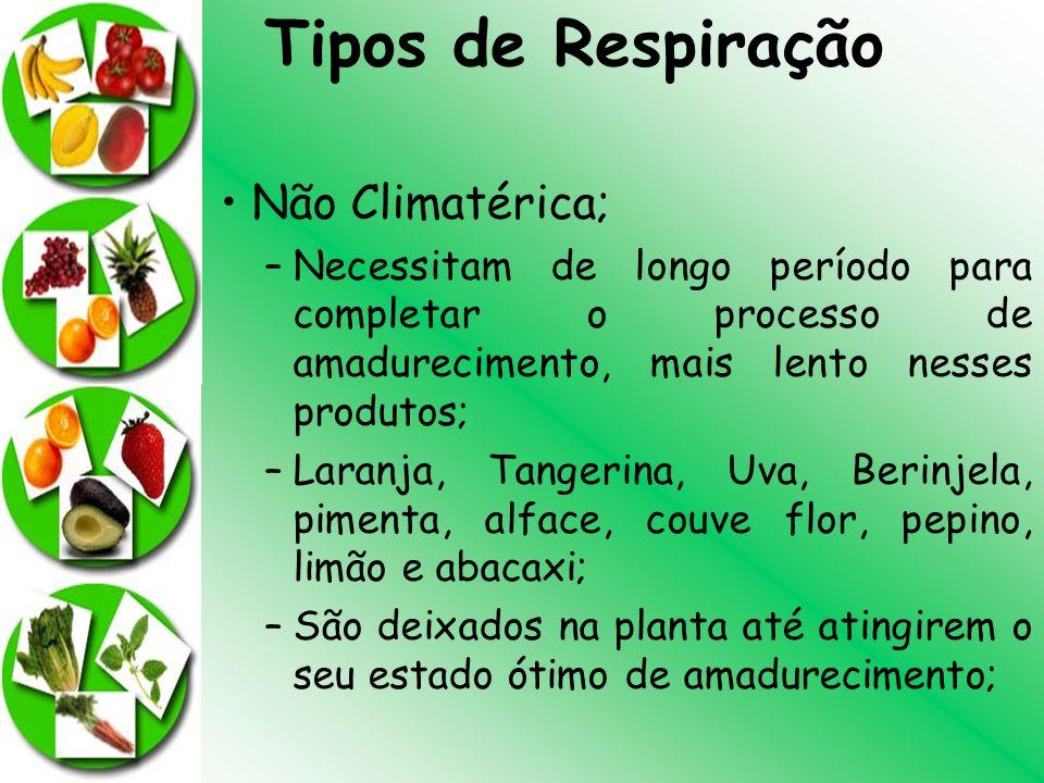 Não Climatérica; –Necessitam de longo período para completar o processo de amadurecimento, mais lento nesses produtos; –Laranja, Tangerina, Uva, Berin