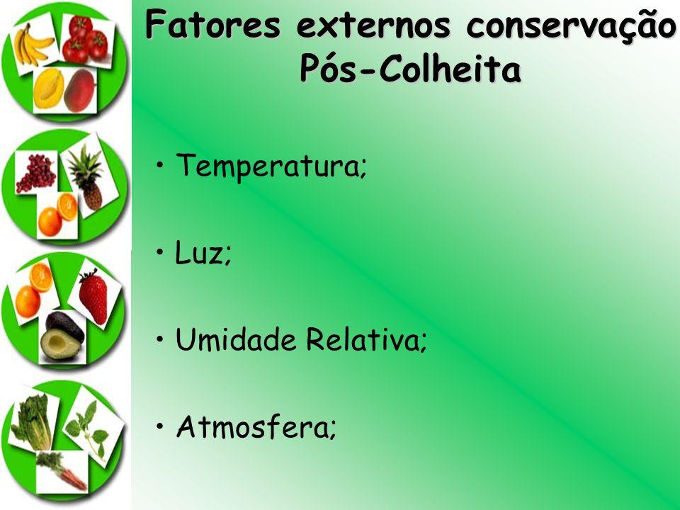 Fatores externos conservação Pós-Colheita Temperatura; Luz; Umidade Relativa; Atmosfera;