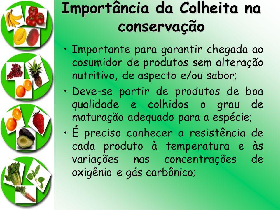 Importância da Colheita na conservação Importante para garantir chegada ao cosumidor de produtos sem alteração nutritivo, de aspecto e/ou sabor; Deve-