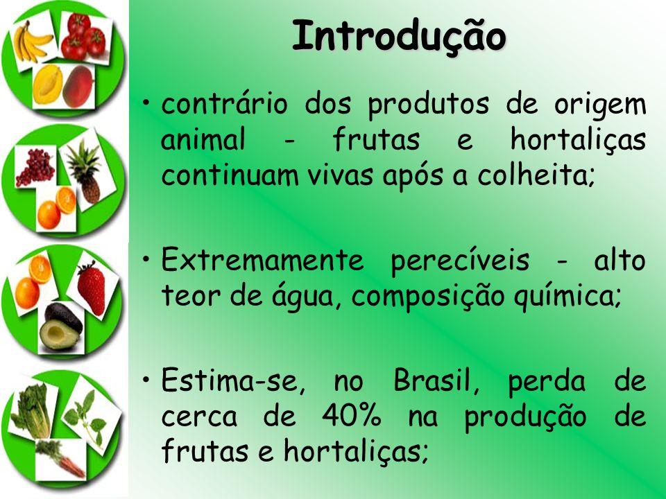 Introdução contrário dos produtos de origem animal - frutas e hortaliças continuam vivas após a colheita; Extremamente perecíveis - alto teor de água,