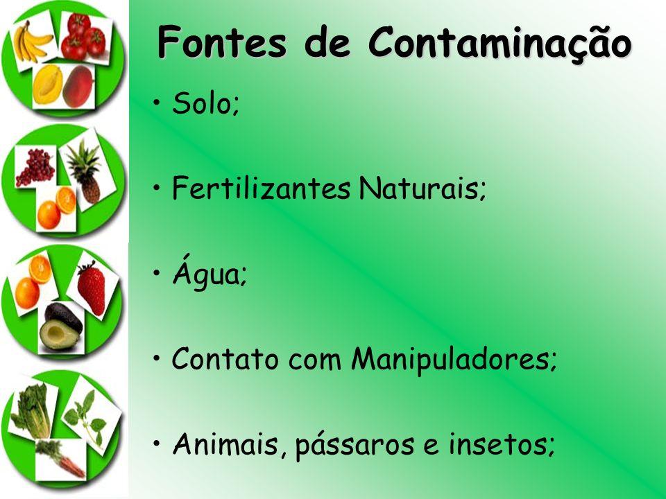 Fontes de Contaminação Solo; Fertilizantes Naturais; Água; Contato com Manipuladores; Animais, pássaros e insetos;