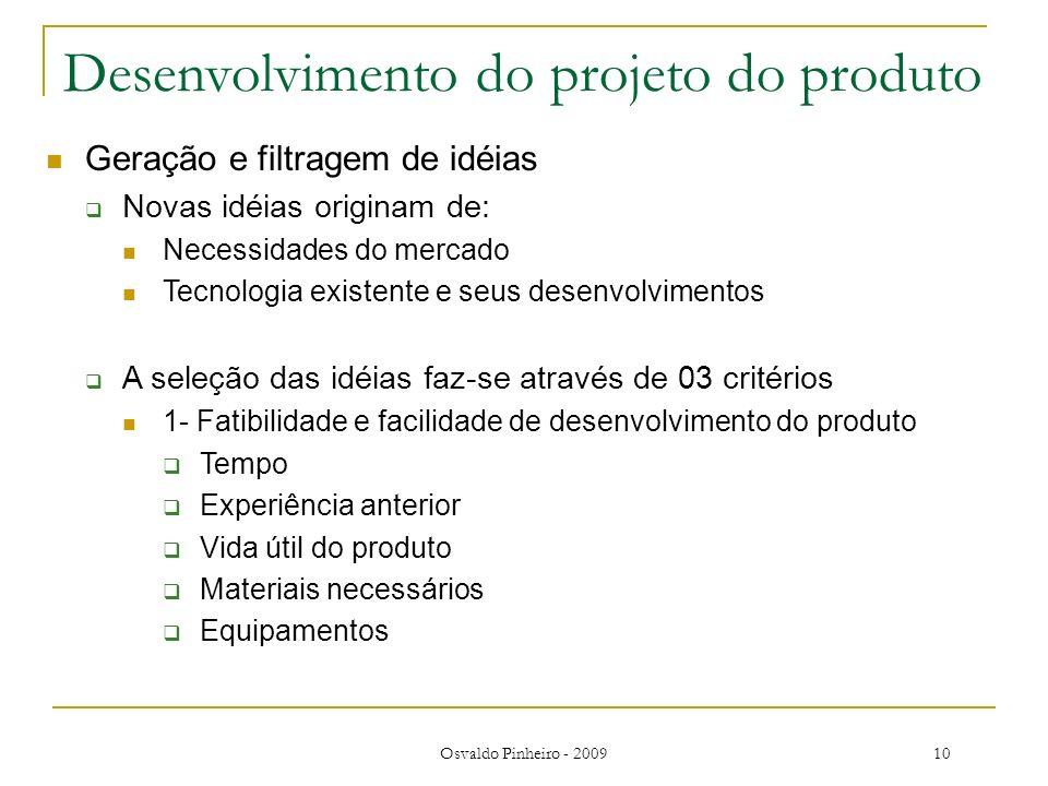Osvaldo Pinheiro - 200910 Desenvolvimento do projeto do produto Geração e filtragem de idéias Novas idéias originam de: Necessidades do mercado Tecnol
