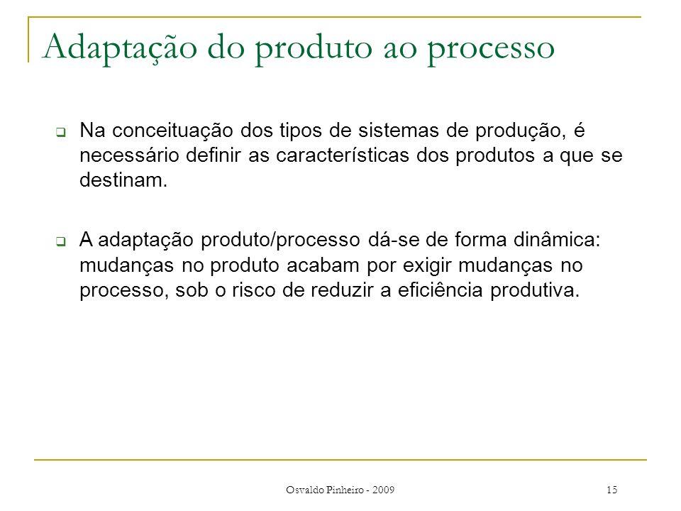 Osvaldo Pinheiro - 200915 Adaptação do produto ao processo Na conceituação dos tipos de sistemas de produção, é necessário definir as características