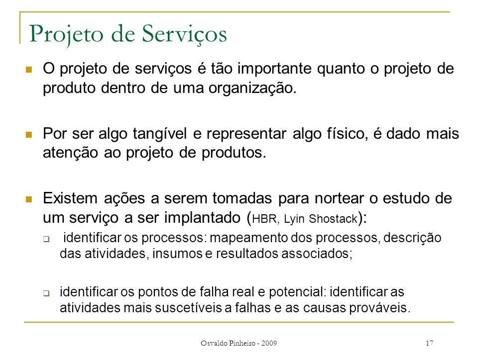 Osvaldo Pinheiro - 200917 Projeto de Serviços O projeto de serviços é tão importante quanto o projeto de produto dentro de uma organização. Por ser al