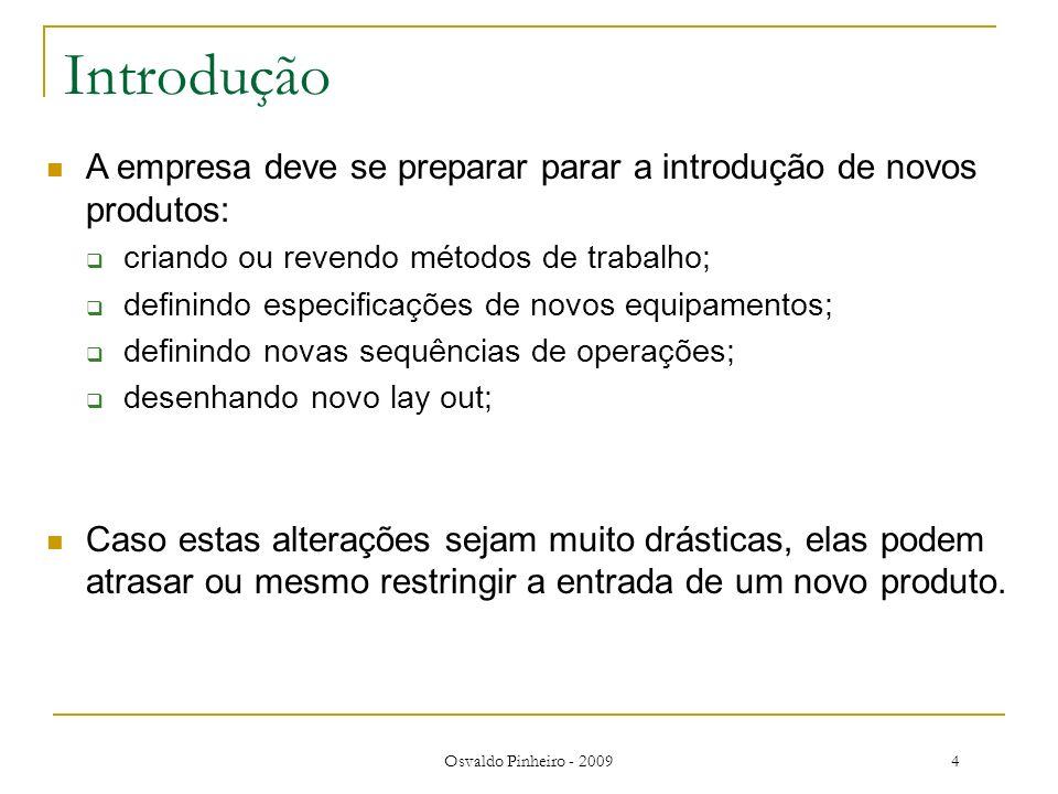 Osvaldo Pinheiro - 20094 Introdução A empresa deve se preparar parar a introdução de novos produtos: criando ou revendo métodos de trabalho; definindo