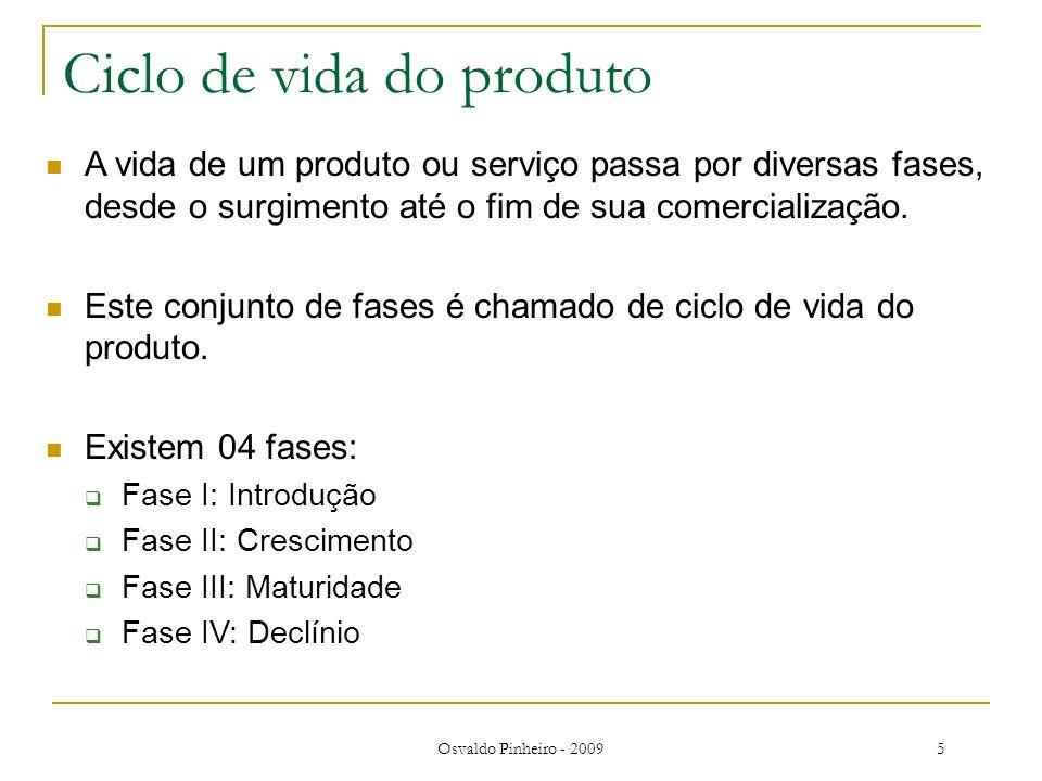 Osvaldo Pinheiro - 20095 Ciclo de vida do produto A vida de um produto ou serviço passa por diversas fases, desde o surgimento até o fim de sua comerc